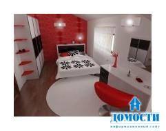 Вдохновляющая современная спальня в красном, черном и белом
