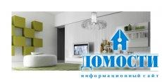 Бело-зеленый дизайн гостиной