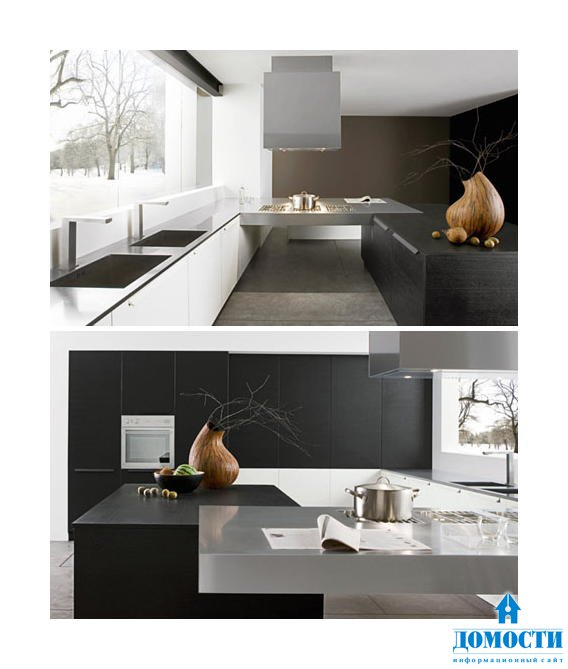 Фото интерьера кухни, черно-белый стиль.