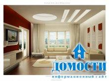 Красно-белые дизайны гостиных