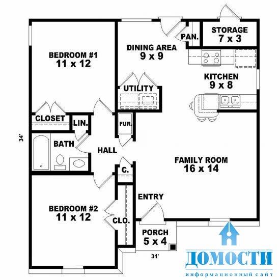 План комнат одноэтажного дома