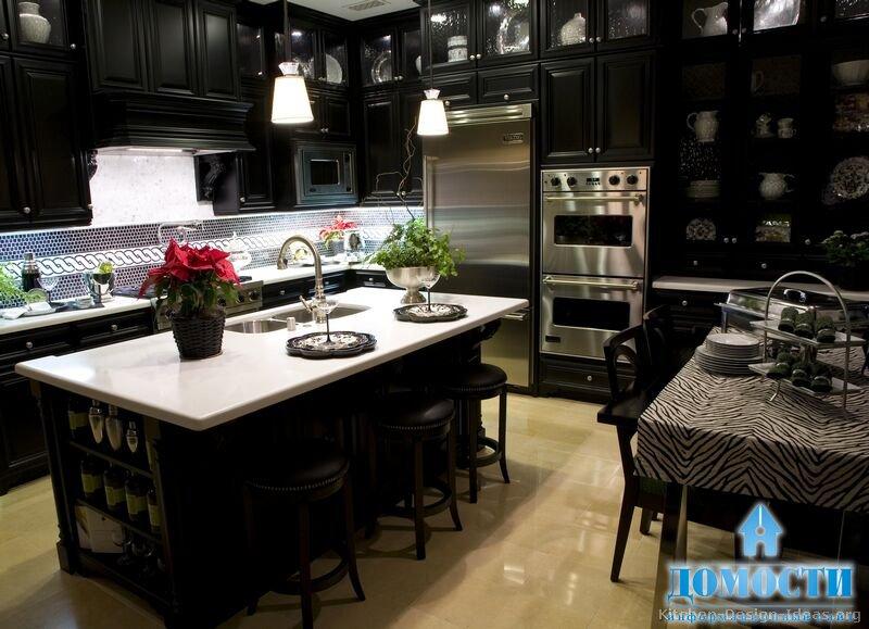 Если Вы любите принимать гостей, то цвет венге в интерьере кухни будет