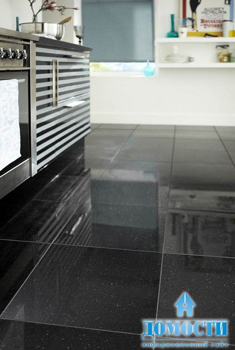 Black gloss floor tiles