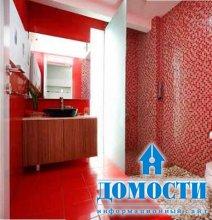 Красный цвет в дизайне ванных