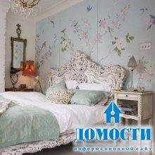 Декорирование спальни обоями