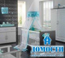 Серые спальни для новорожденных