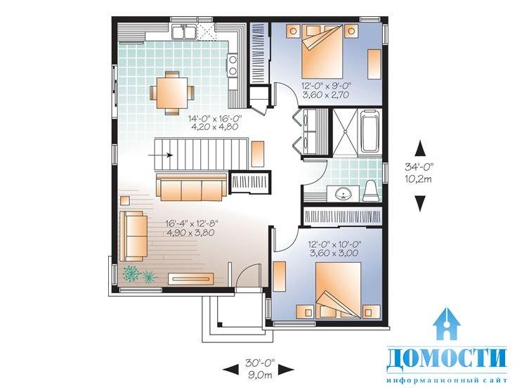 Проекты простых одноэтажных домов бесплатно чертежи и фото