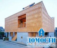 Современный дом из дерева и бетона