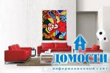 Красно-белый дизайн гостиных