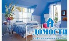 Синяя краска в отделке спальни