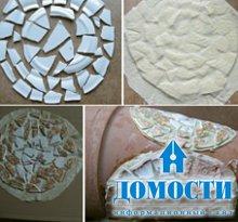 Украшение горшка старинной мозаикой