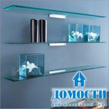 Лаконичный дизайн стеклянных полок