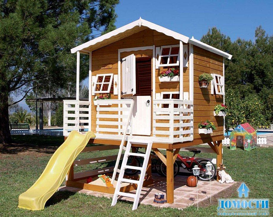 Как построить детский домик для дачи своими руками фото