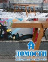 Деревянный стол-скамья