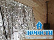 Зимний дом у водопада
