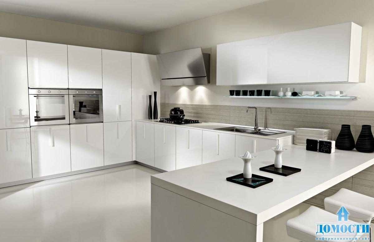 Современная белая кухня в интерьере фото