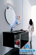 Стильная ванная с черной мебелью