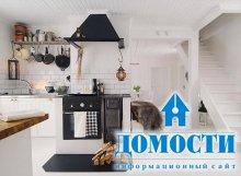 Установка камина на кухне